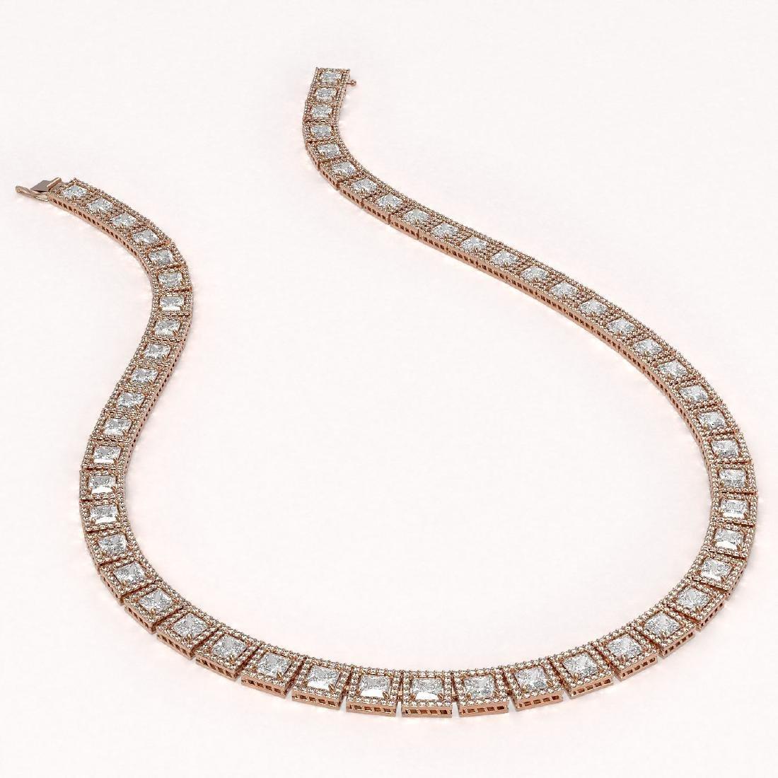 36.30 CTW Princess Diamond Designer Necklace 18K Rose - 2