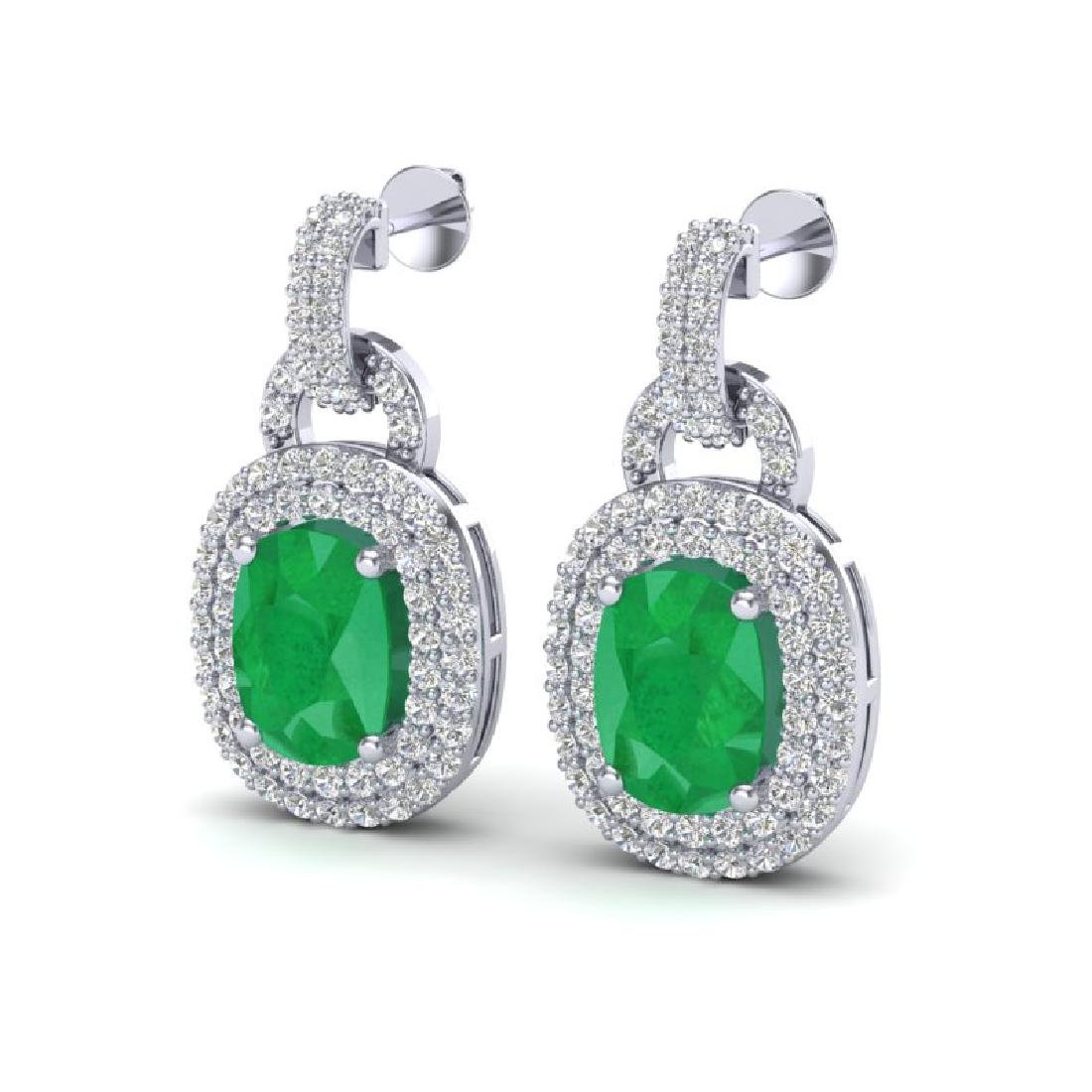 5 CTW Emerald And Micro VS/SI Diamond Pave Earrings