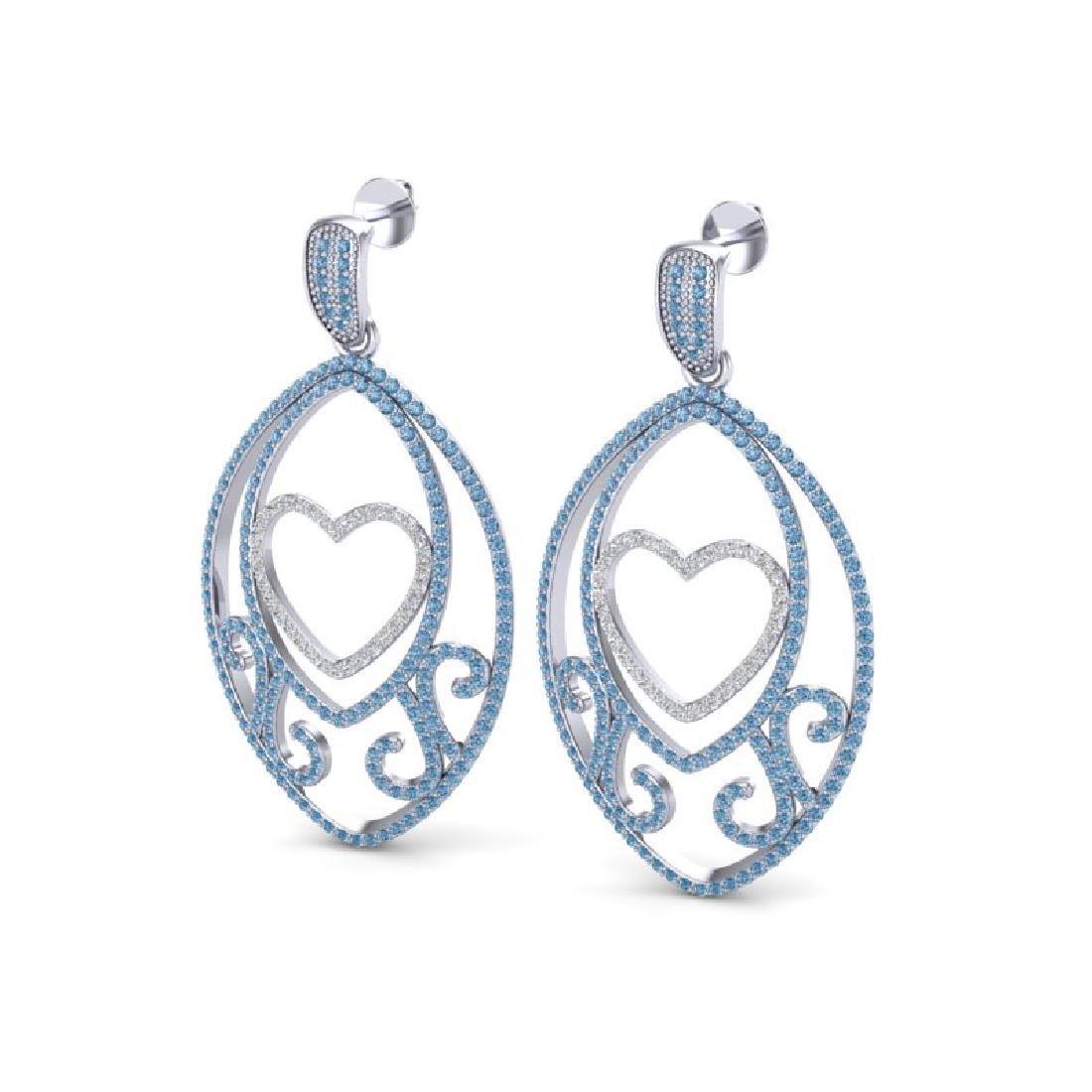 3.20 CTW Blue & Micro Pave VS/SI Diamond Designer Heart