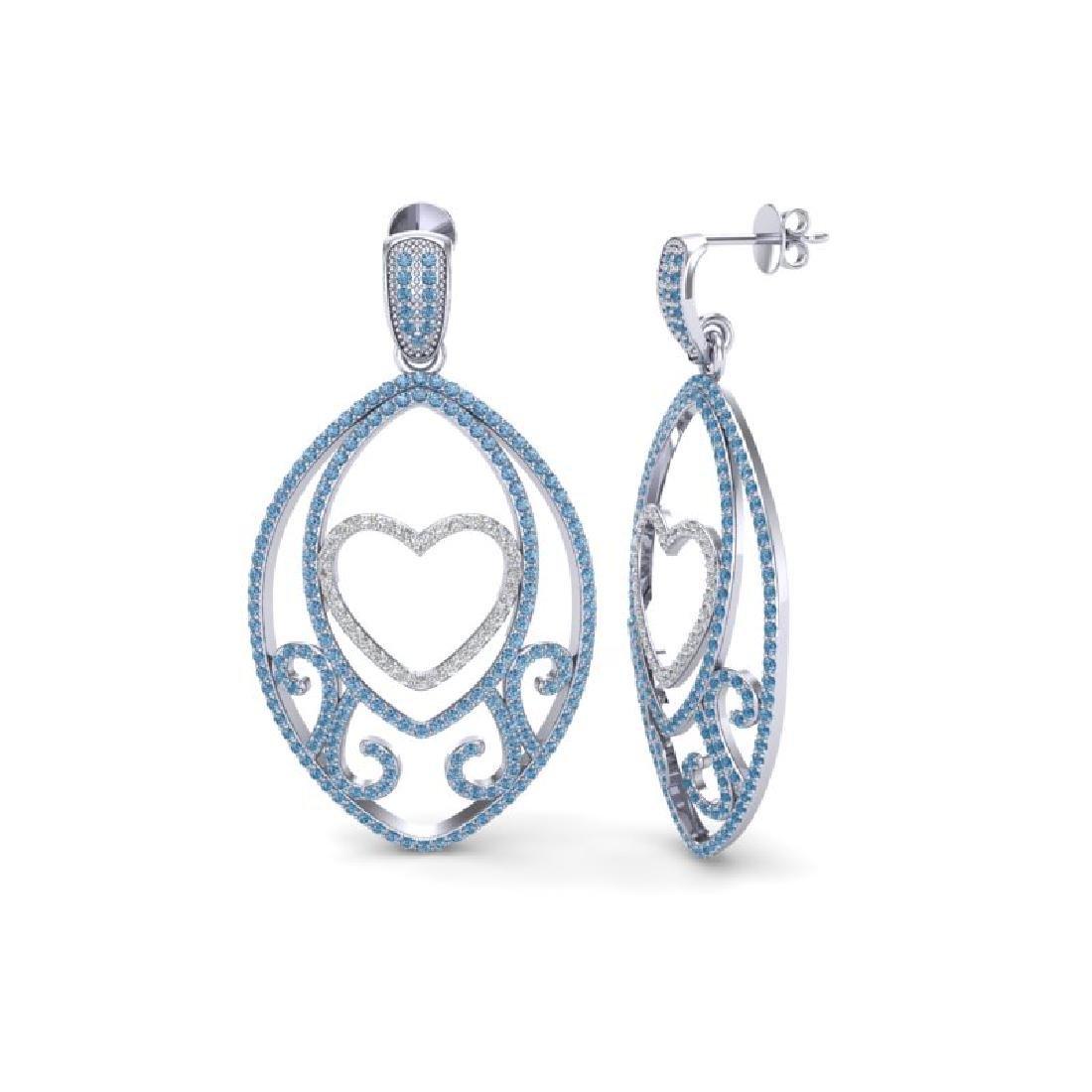 3.20 CTW Blue & Micro Pave VS/SI Diamond Designer Heart - 2