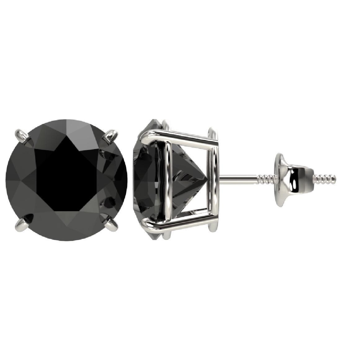 5.15 CTW Fancy Black VS Diamond Solitaire Stud Earrings - 2