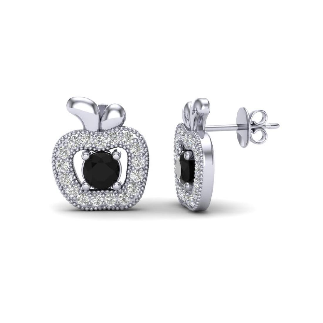 0.64 CTW VS/SI Diamond Micro Pave Halo Earrings 18K - 2