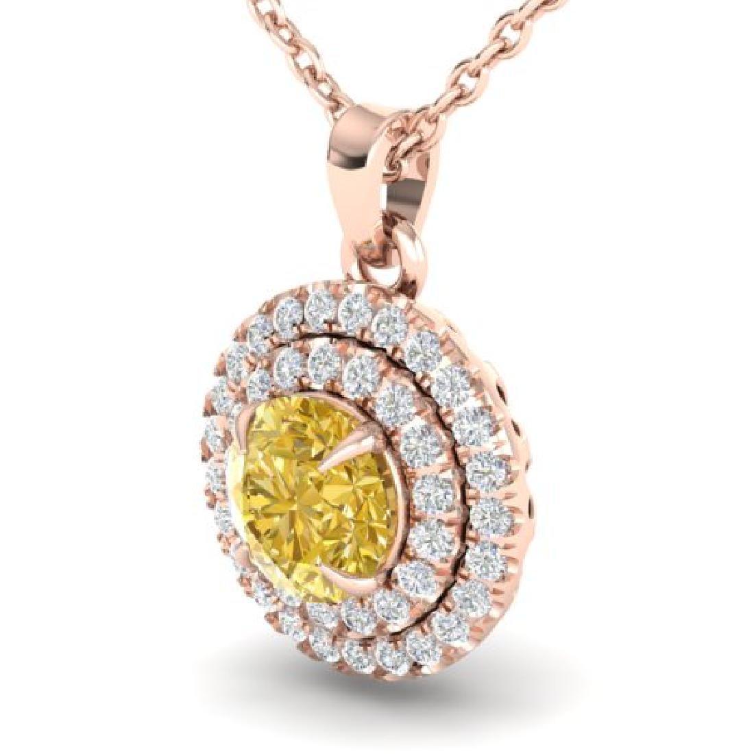 1 CTW Citrine & Micro VS/SI Diamond Solitaire Necklace - 2