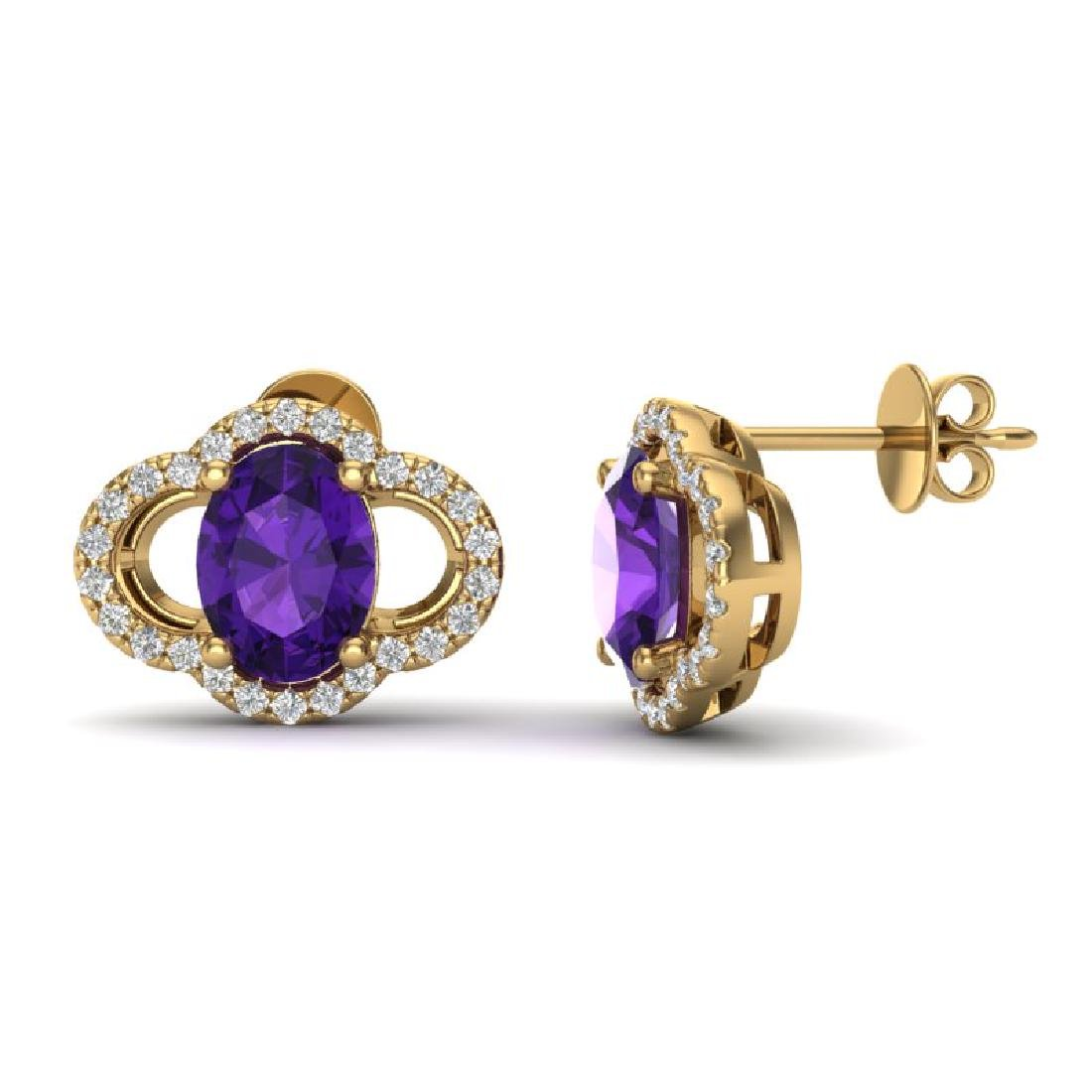 4 CTW Amethyst And Micro Pave VS/SI Diamond Earrings - 2