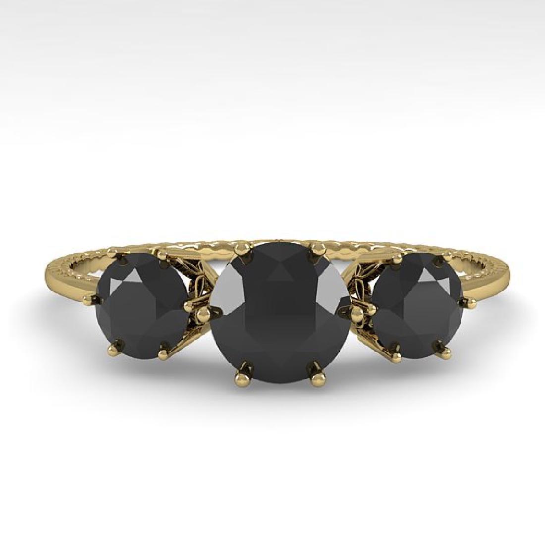 1 CTW Black Certified Diamond Art Deco Ring 14K Yellow