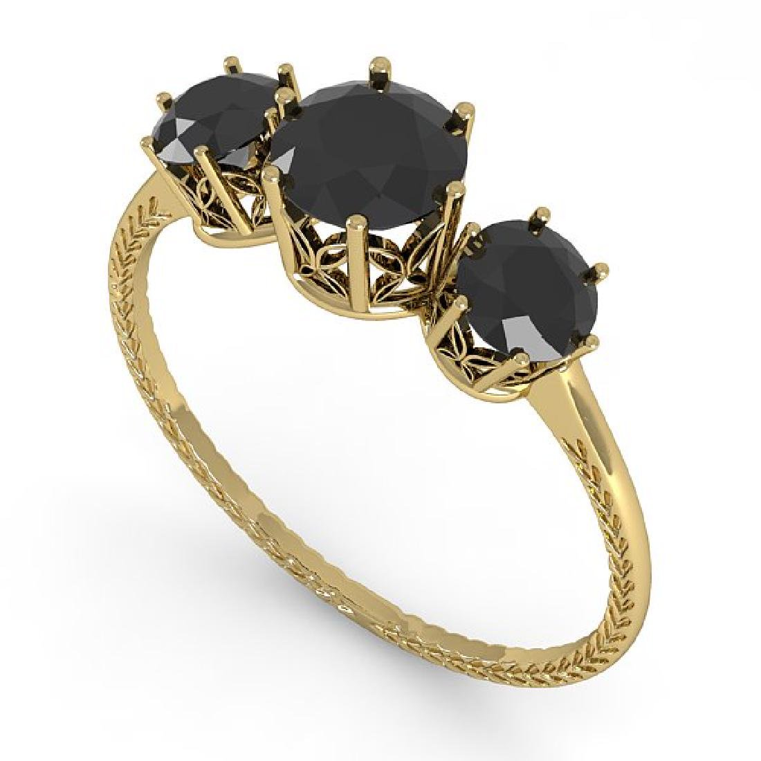 1 CTW Black Certified Diamond Art Deco Ring 14K Yellow - 2