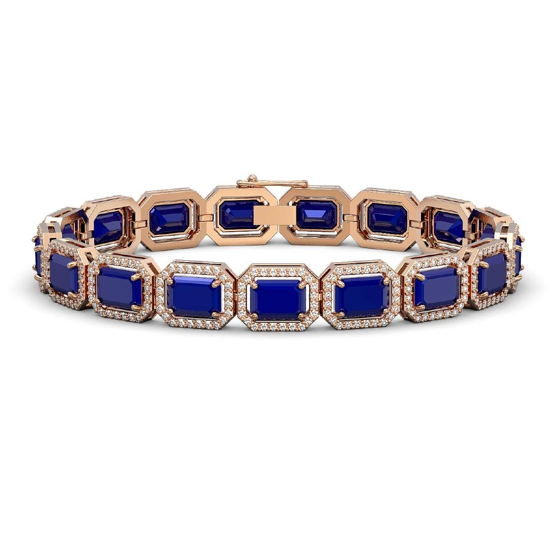 26.21 CTW Sapphire & Diamond Halo Bracelet 10K Rose