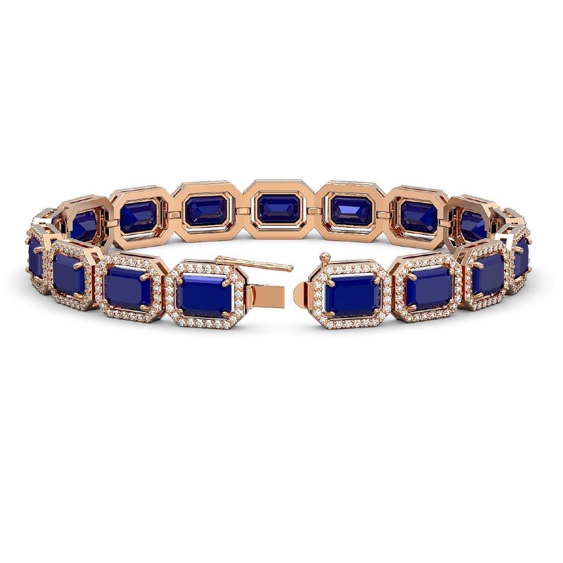 26.21 CTW Sapphire & Diamond Halo Bracelet 10K Rose - 2