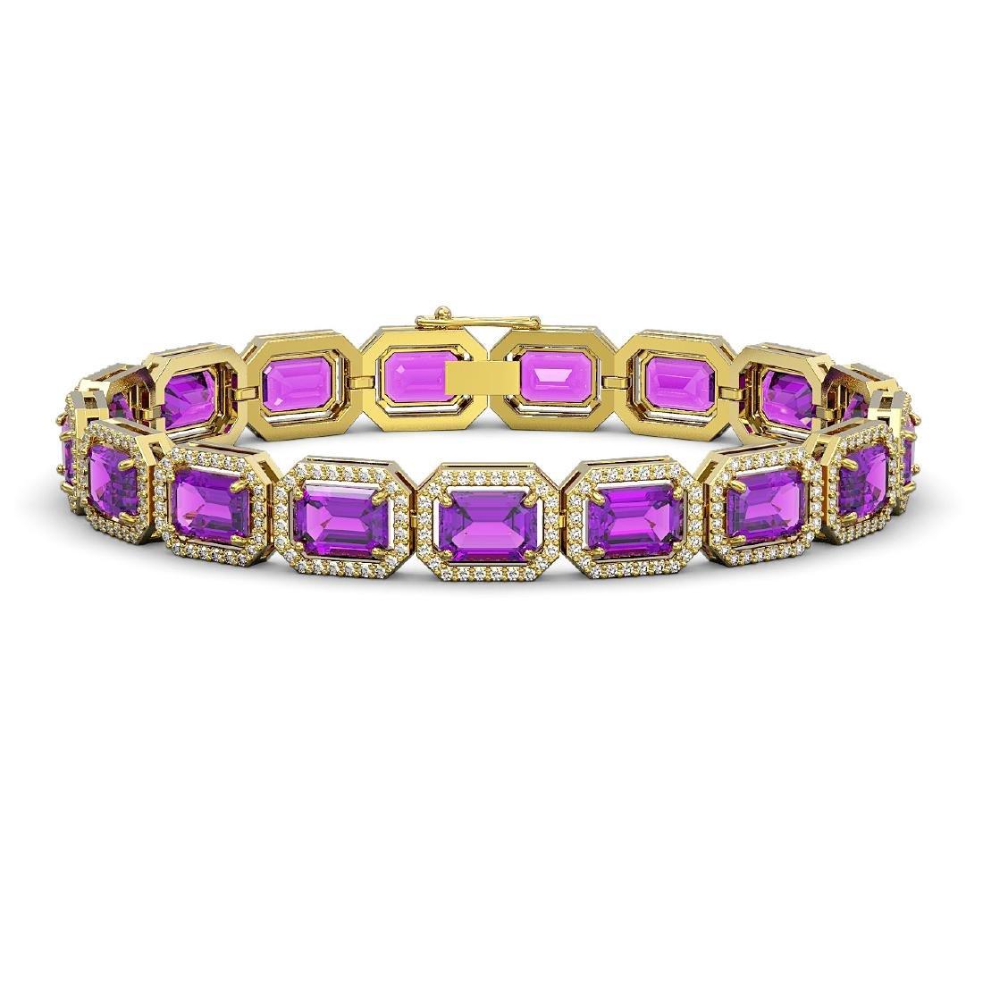 22.81 CTW Amethyst & Diamond Halo Bracelet 10K Yellow