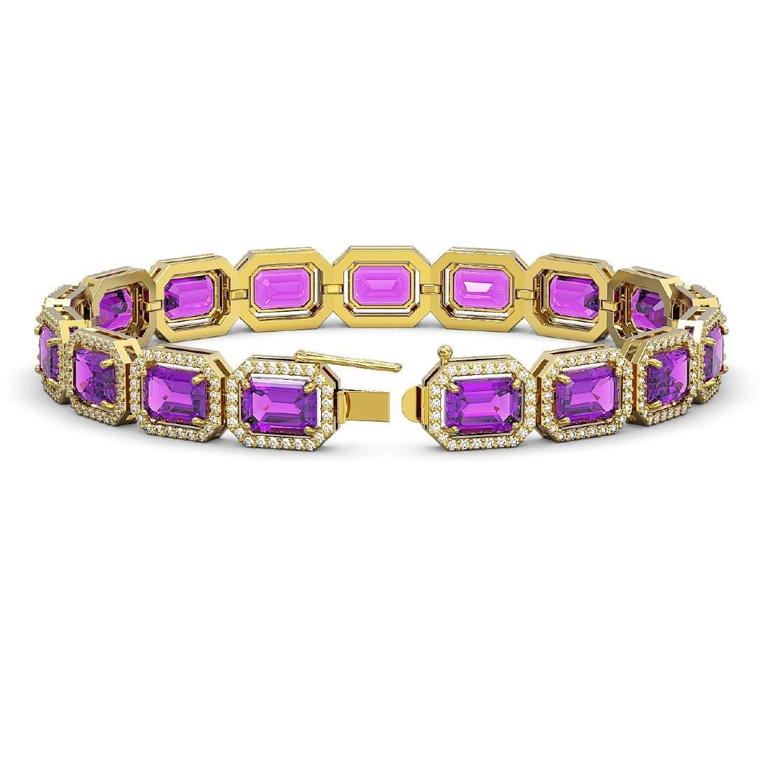 22.81 CTW Amethyst & Diamond Halo Bracelet 10K Yellow - 2