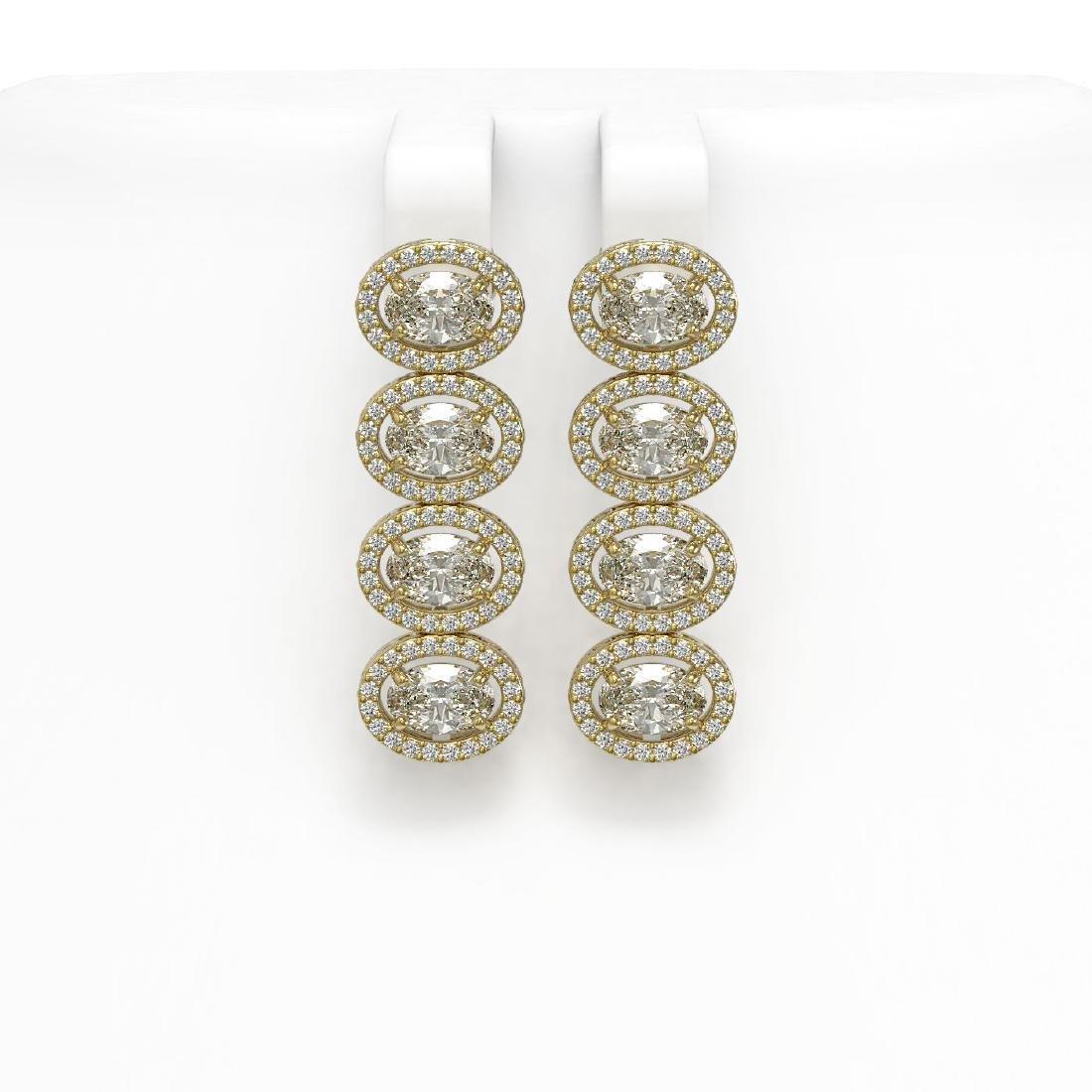 5.33 CTW Oval Diamond Designer Earrings 18K Yellow Gold