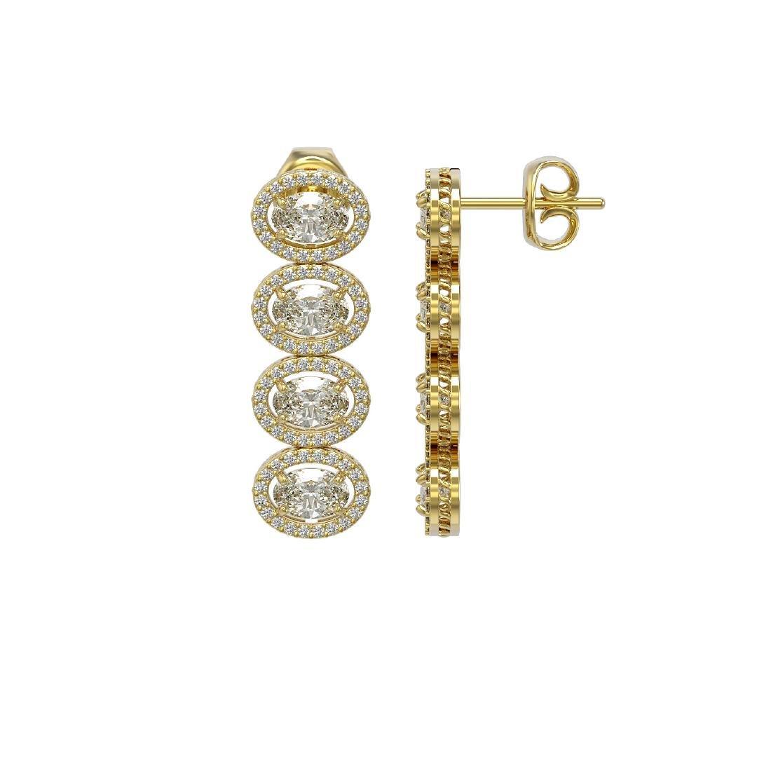 5.33 CTW Oval Diamond Designer Earrings 18K Yellow Gold - 2