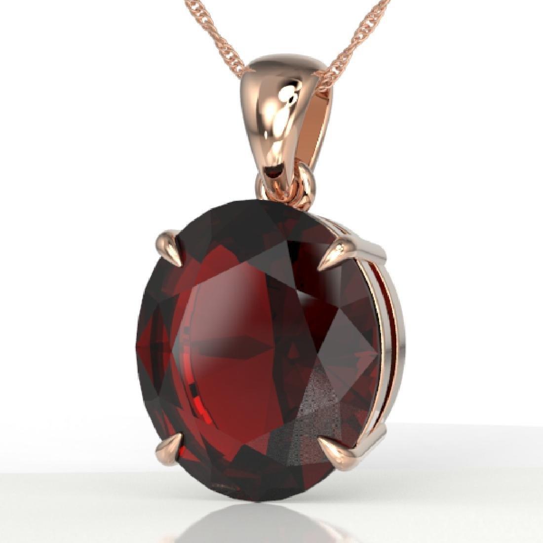 9 CTW Garnet Designer Solitaire Necklace 14K Rose Gold