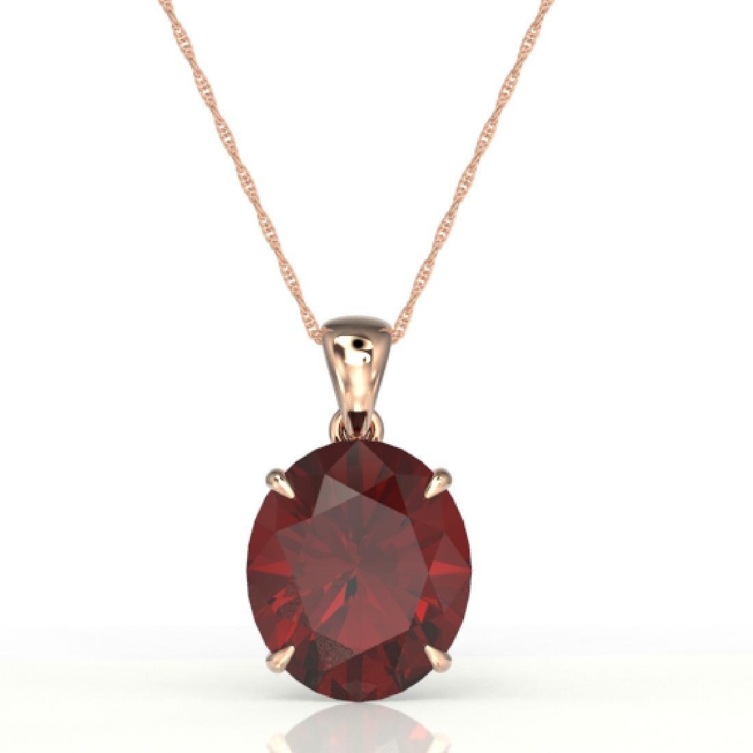 9 CTW Garnet Designer Solitaire Necklace 14K Rose Gold - 2