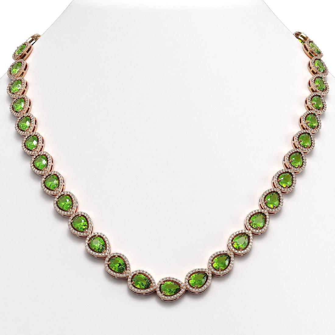 33.35 CTW Peridot & Diamond Halo Necklace 10K Rose Gold