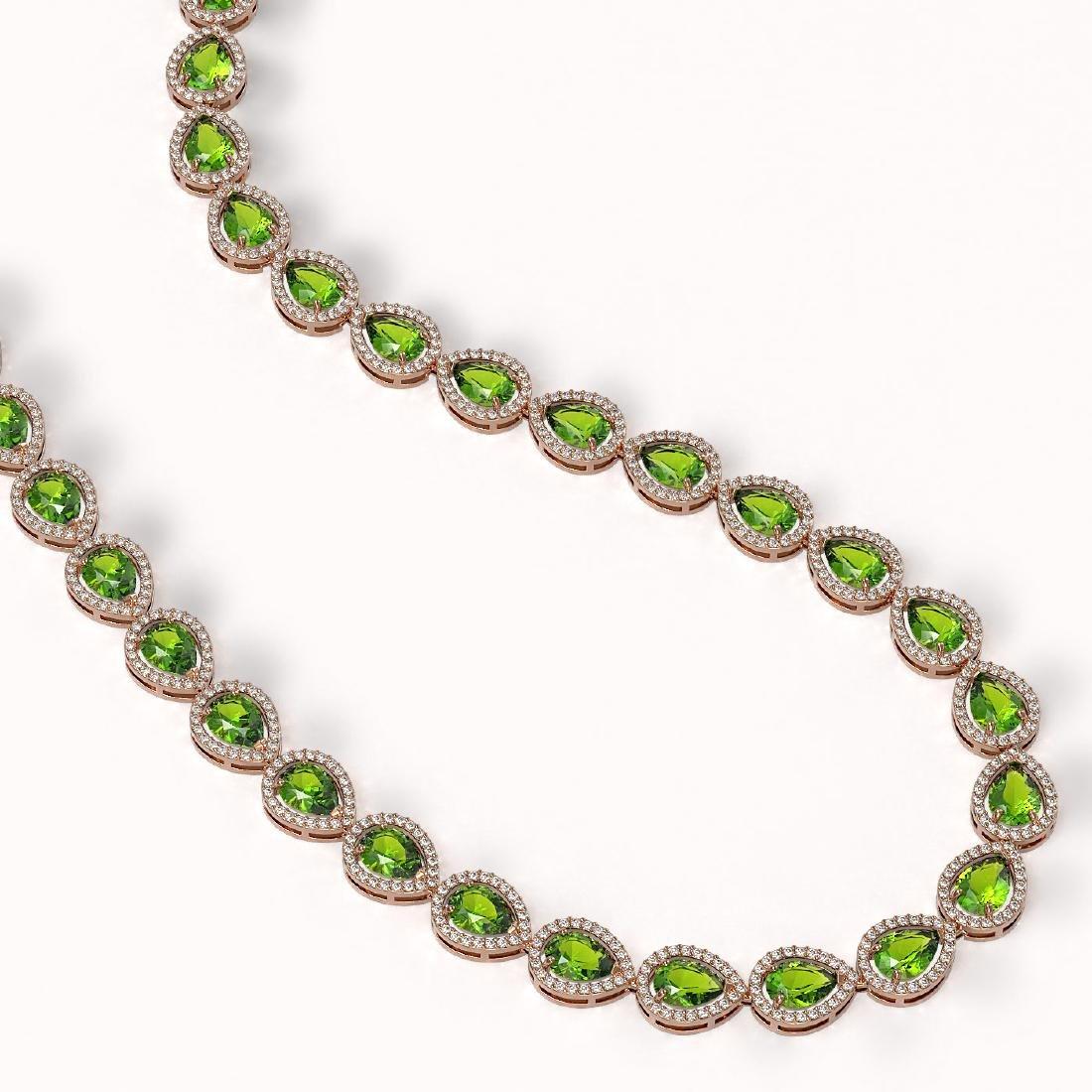 33.35 CTW Peridot & Diamond Halo Necklace 10K Rose Gold - 2