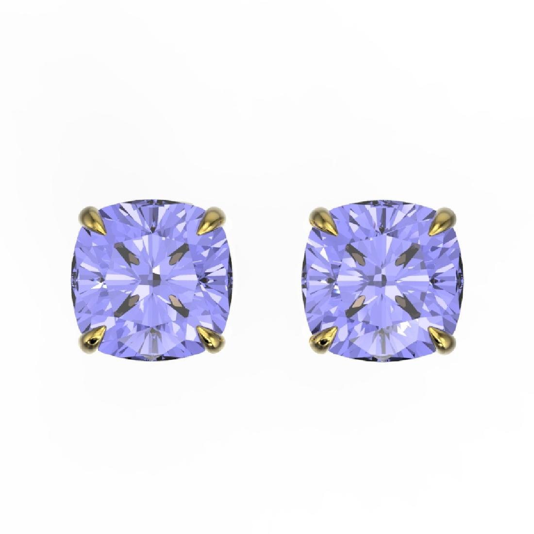 4 CTW Cushion Cut Tanzanite Designer Solitaire Stud