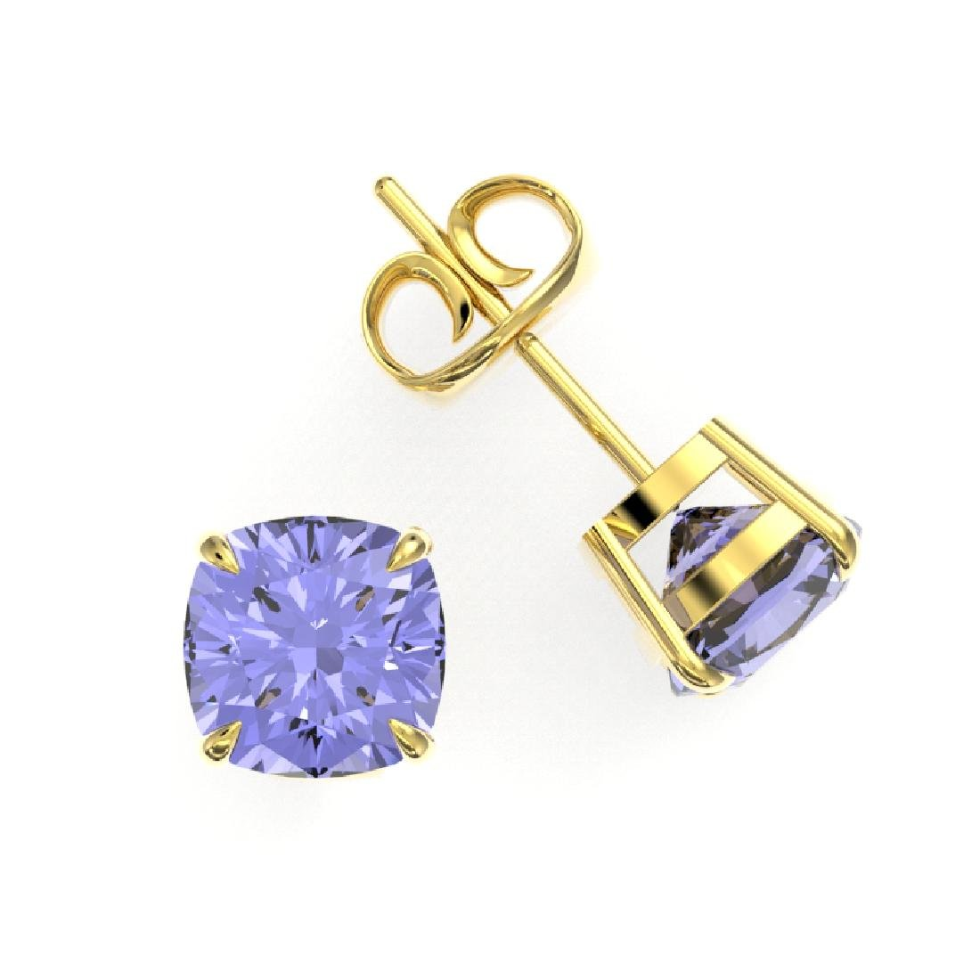 4 CTW Cushion Cut Tanzanite Designer Solitaire Stud - 2