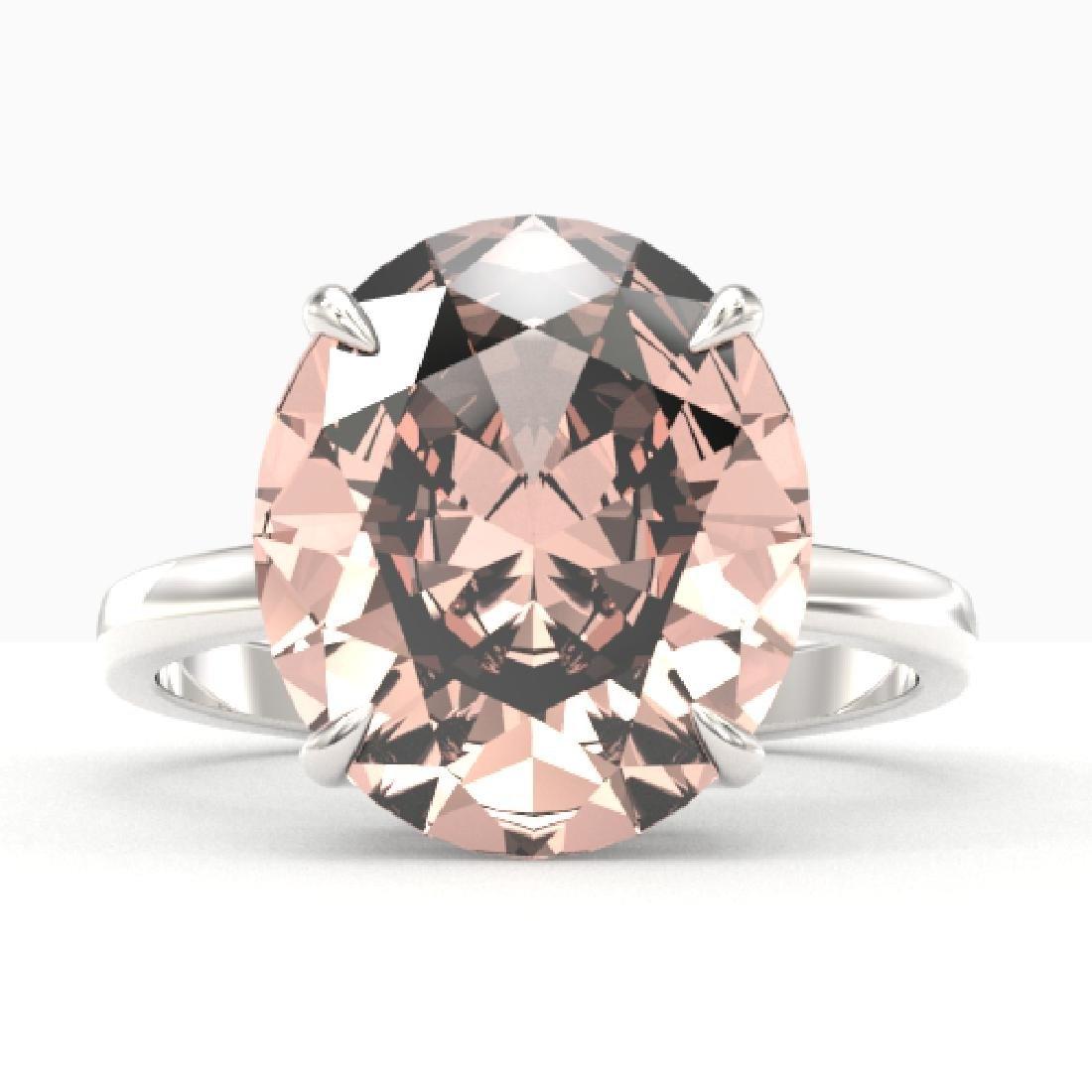 9 CTW Morganite Designer Solitaire Engagement Ring 18K