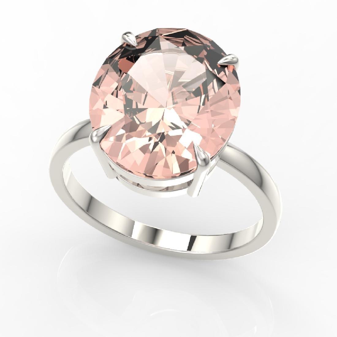 9 CTW Morganite Designer Solitaire Engagement Ring 18K - 2