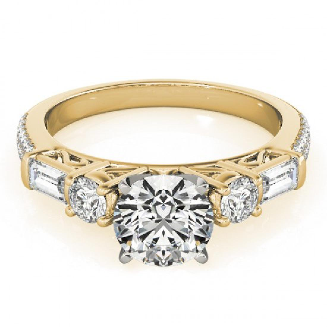 2.5 CTW Certified VS/SI Diamond Pave Solitaire Ring 14K