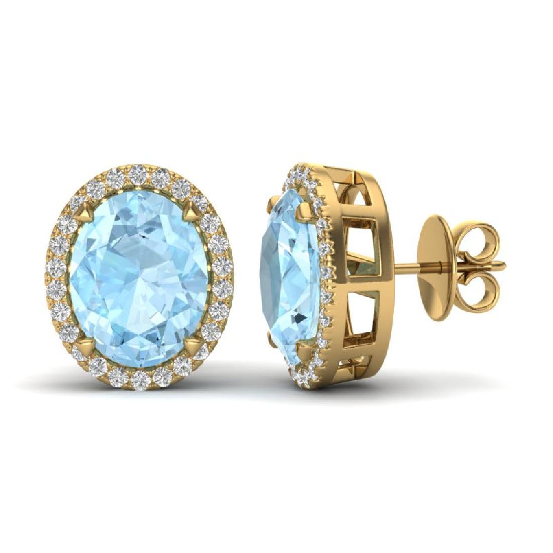 5.50 CTW Aquamarine & Micro VS/SI Diamond Halo Earrings - 2