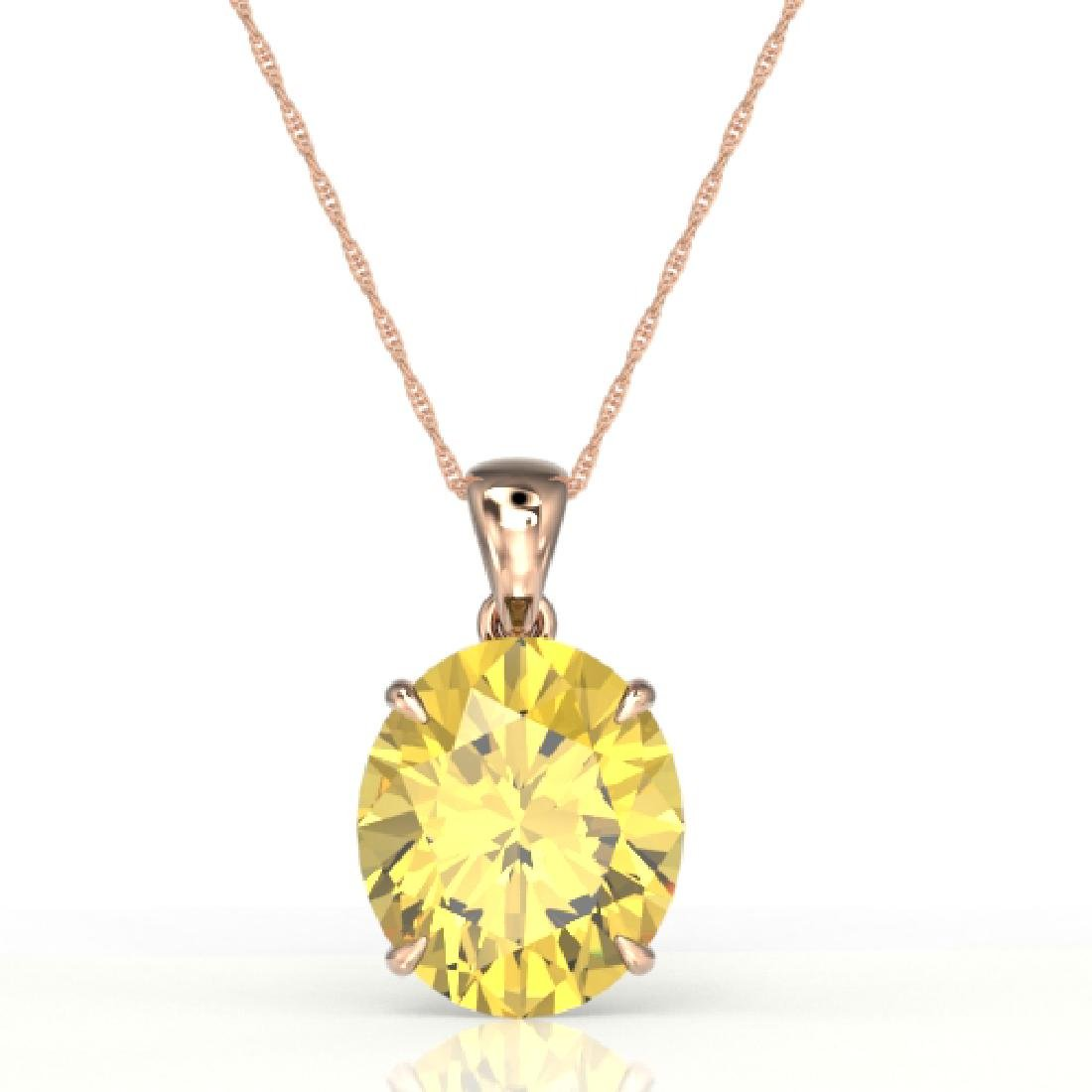 9 CTW Citrine Designer Solitaire Necklace 14K Rose Gold - 2