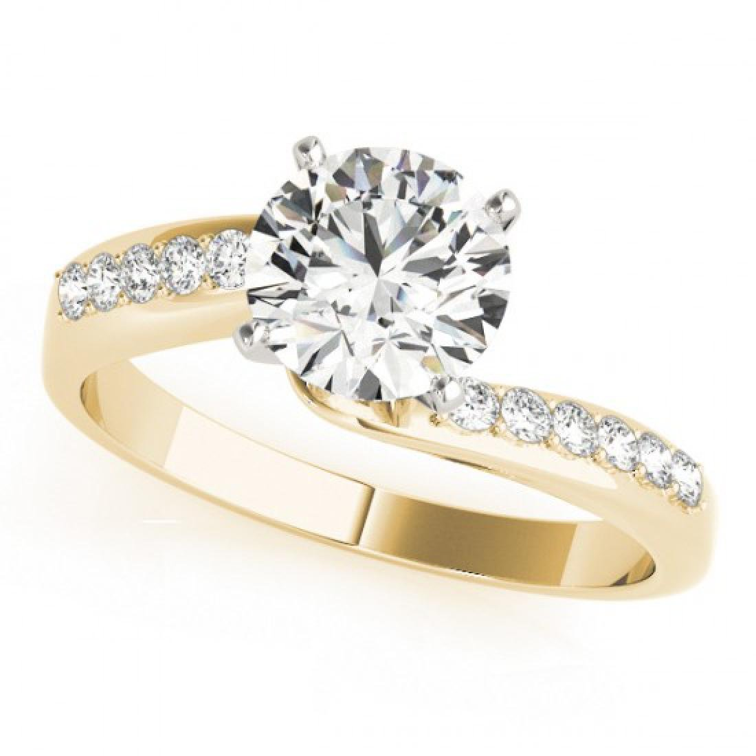0.91 CTW Certified VS/SI Diamond Bypass Solitaire Ring - 2