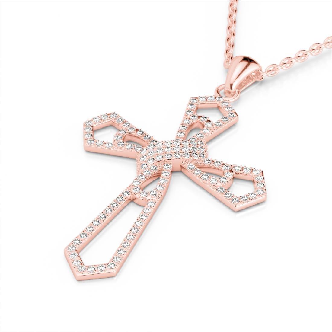 1 CTW Micro Pave VS/SI Diamond Cross Necklace 14K Rose