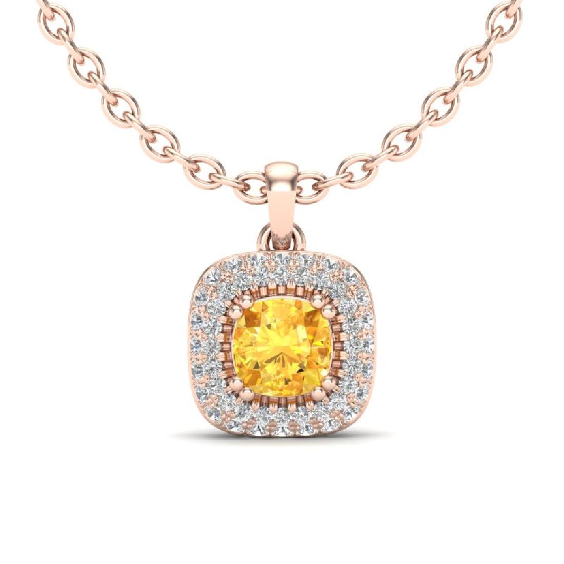 1.08 CTW Citrine & Micro VS/SI Diamond Necklace Halo
