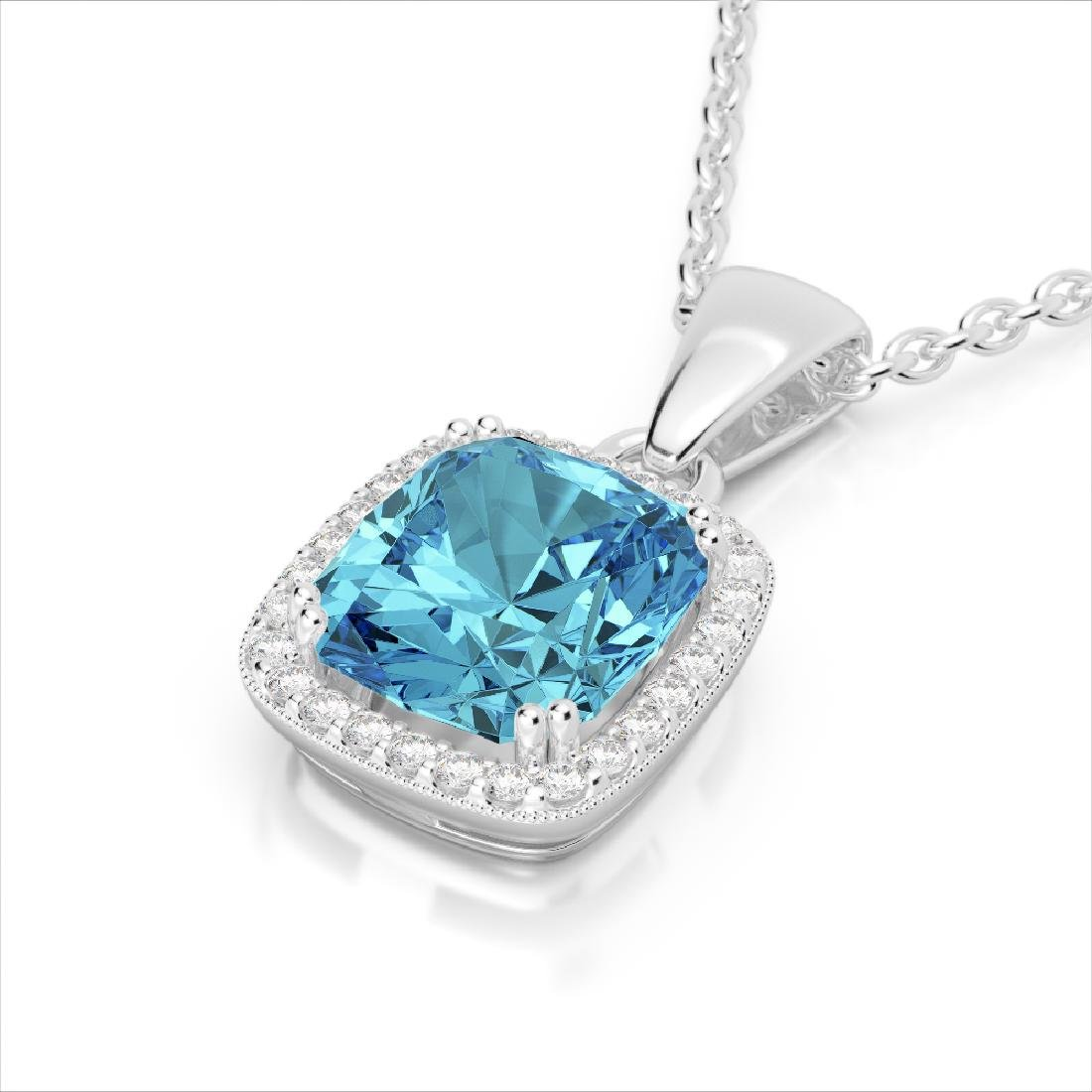 3.50 CTW Sky Blue Topaz & Micro VS/SI Diamond Halo
