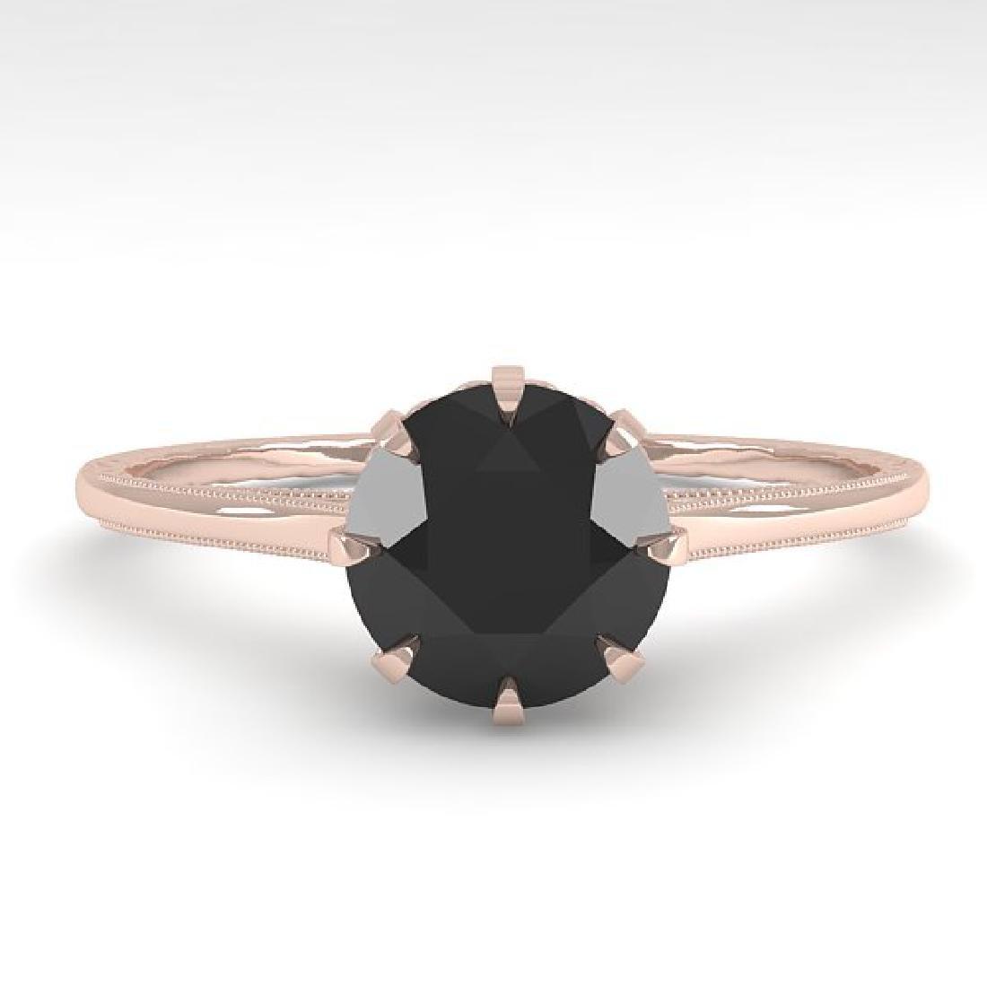 1.0 CTW Black Diamond Solitaire Ring Vintage 14K Rose