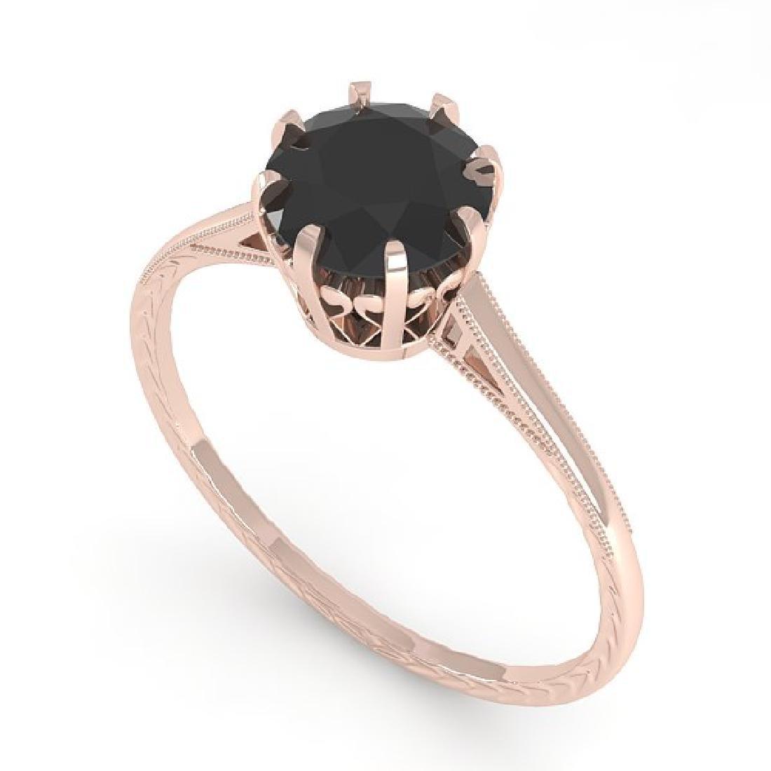 1.0 CTW Black Diamond Solitaire Ring Vintage 14K Rose - 2