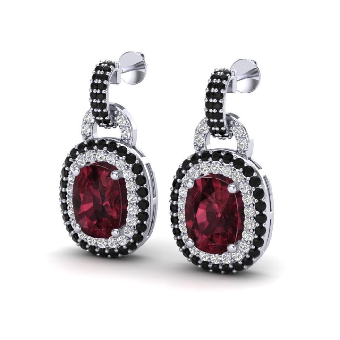 5 CTW Garnet With Black & Micro VS/SI Diamond Earrings