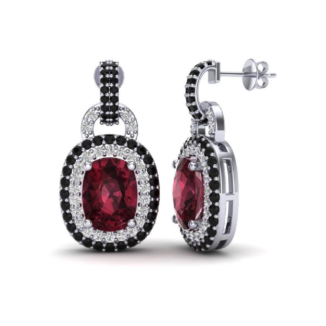 5 CTW Garnet With Black & Micro VS/SI Diamond Earrings - 2