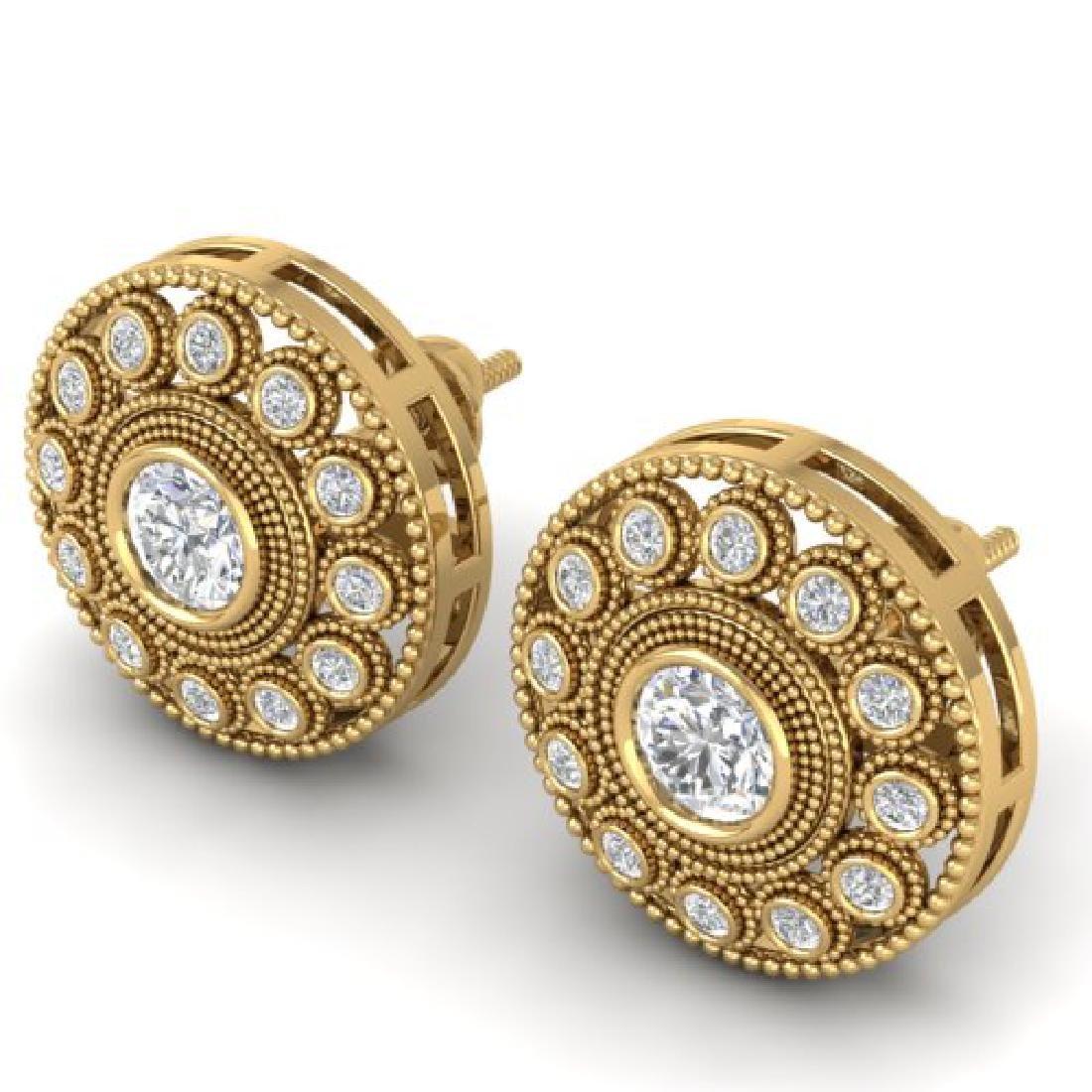 1.11 CTW Certified VS/SI Diamond Art Deco Stud Earrings - 2