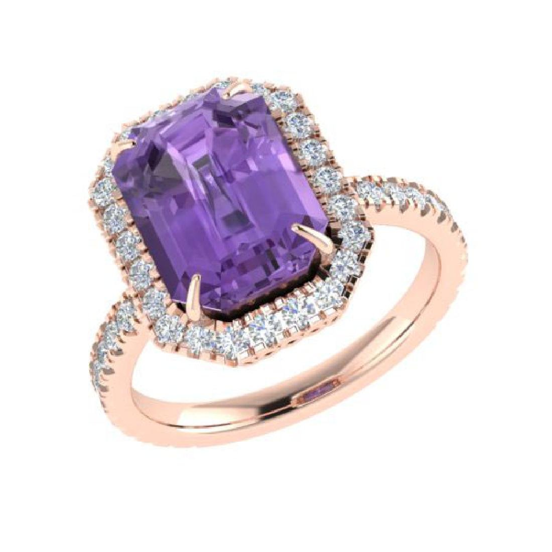 5.03 CTW Amethyst And Micro Pave VS/SI Diamond Halo - 2