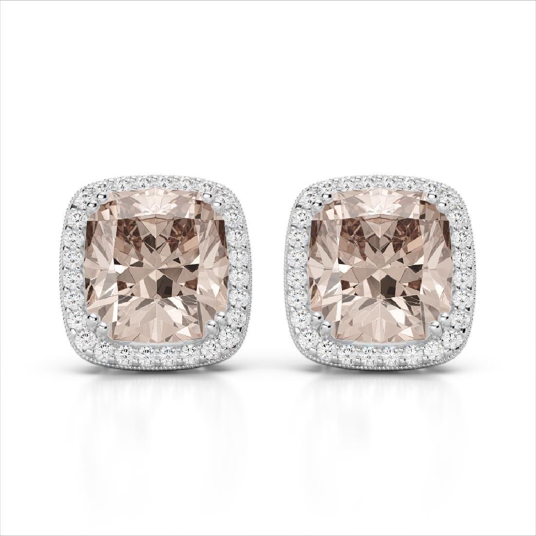 6 CTW Morganite & Micro Pave VS/SI Diamond Halo