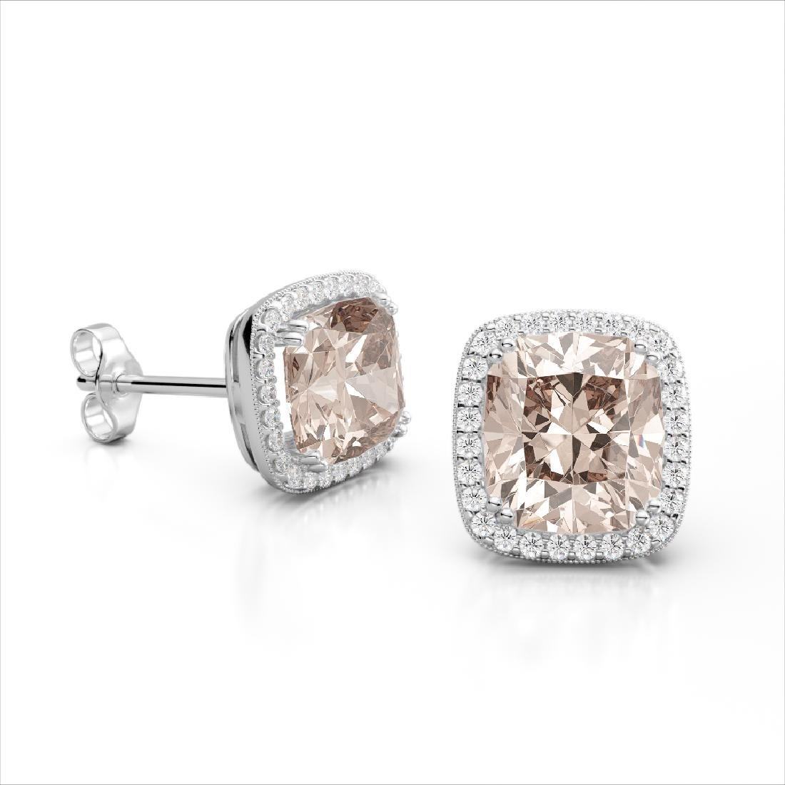 6 CTW Morganite & Micro Pave VS/SI Diamond Halo - 2