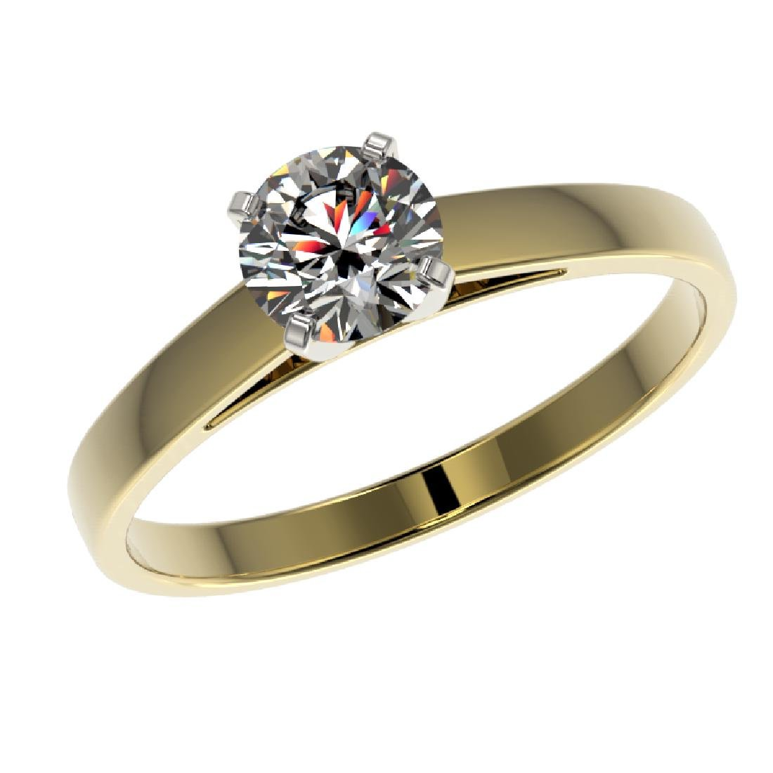 0.73 CTW Certified H-SI/I Quality Diamond Solitaire - 2