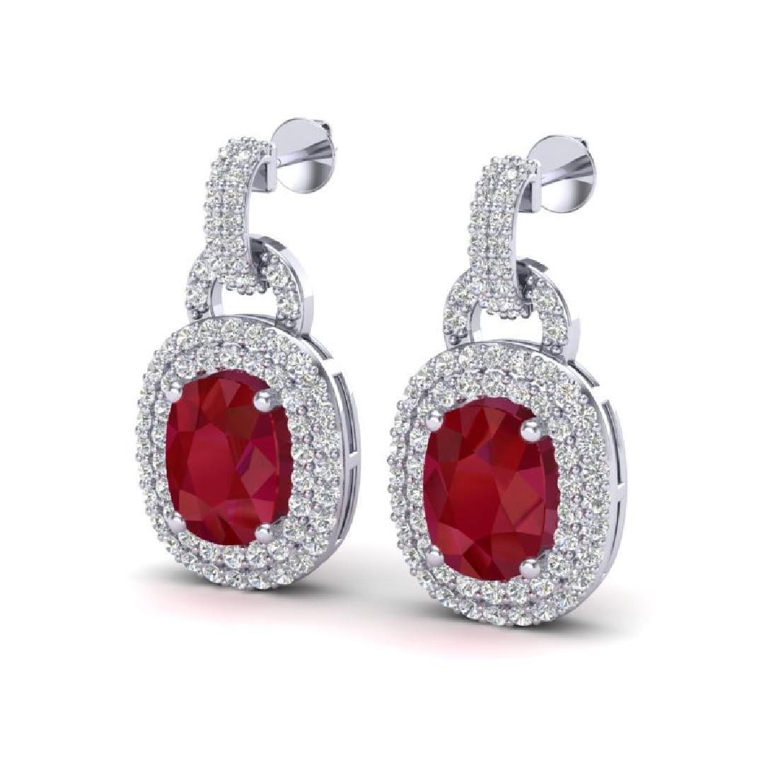5 CTW Ruby & Micro VS/SI Diamond Pave Earrings Halo 14K