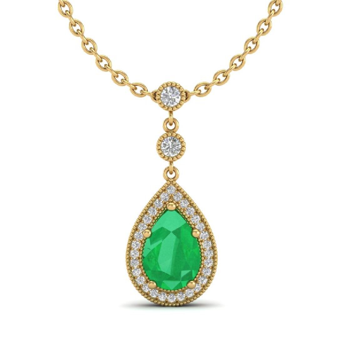 2.75 CTW Emerald & Micro Pave VS/SI Diamond Necklace - 2