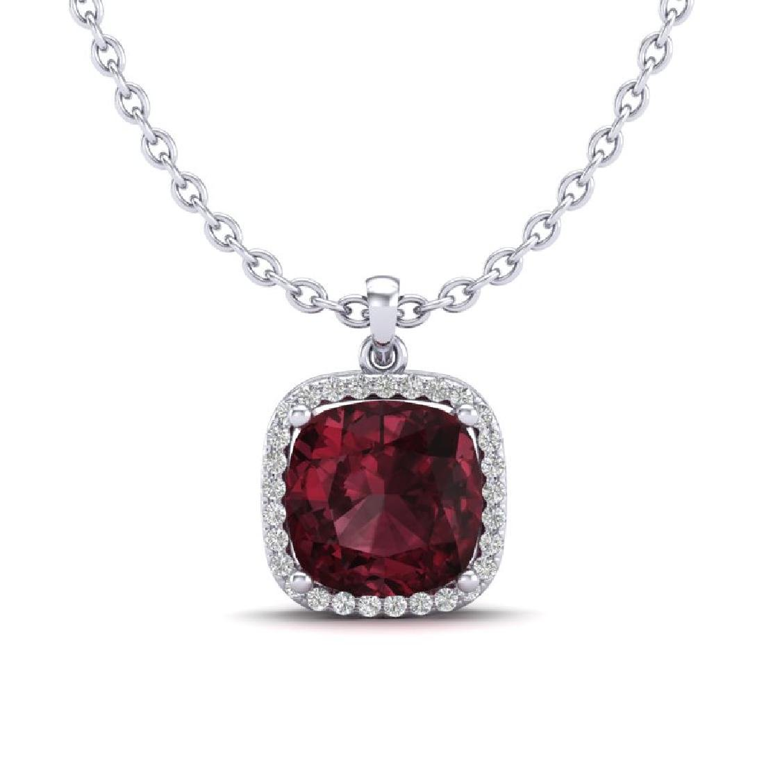 6 CTW Garnet & Micro Pave Halo VS/SI Diamond Necklace - 2
