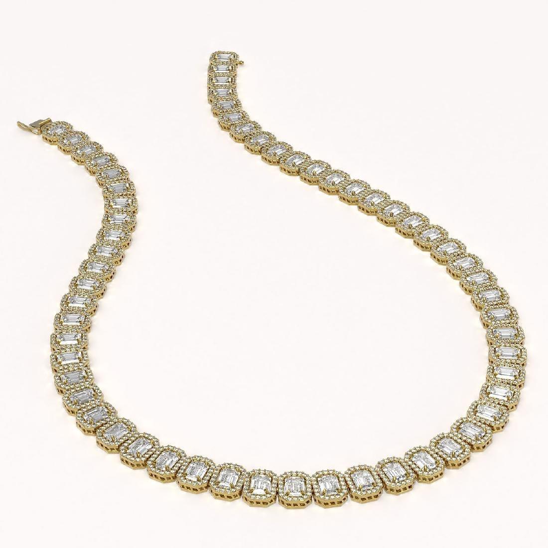 40.3 CTW Emerald Cut Diamond Designer Necklace 18K - 2