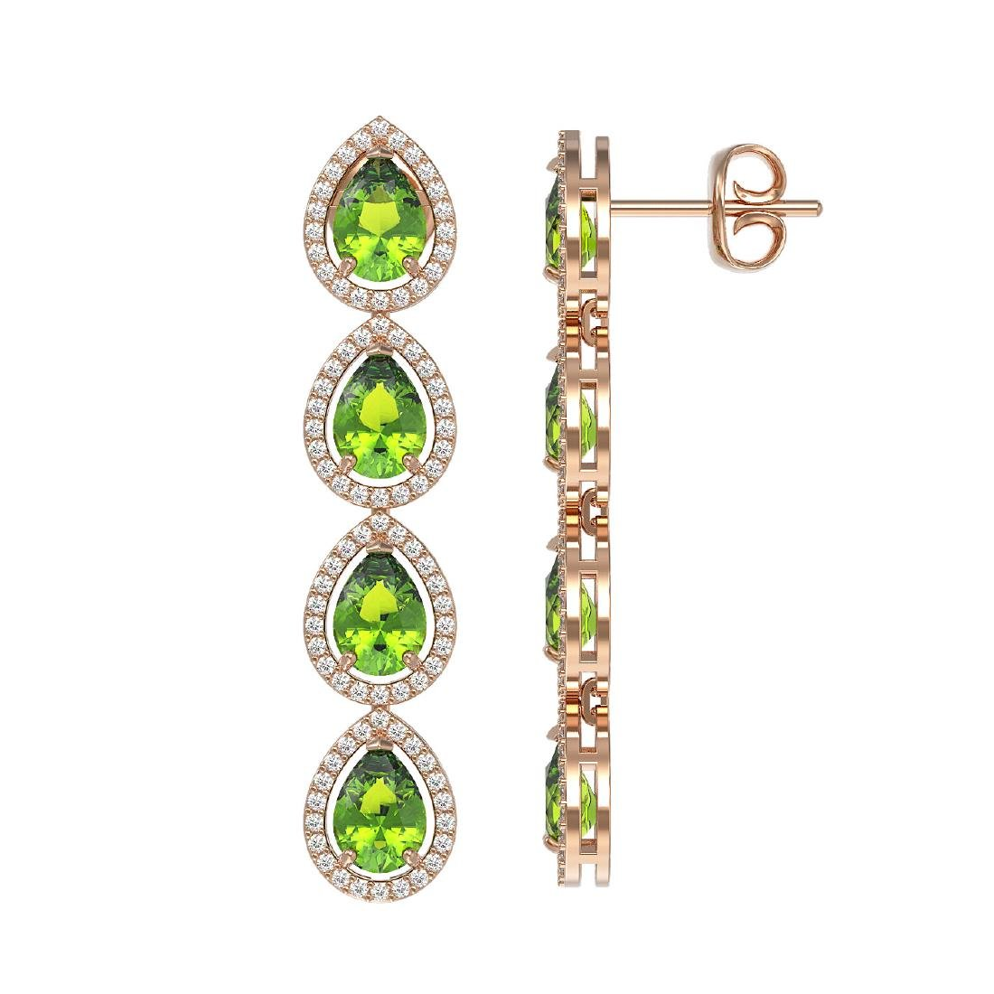 7.46 CTW Peridot & Diamond Halo Earrings 10K Rose Gold - 2