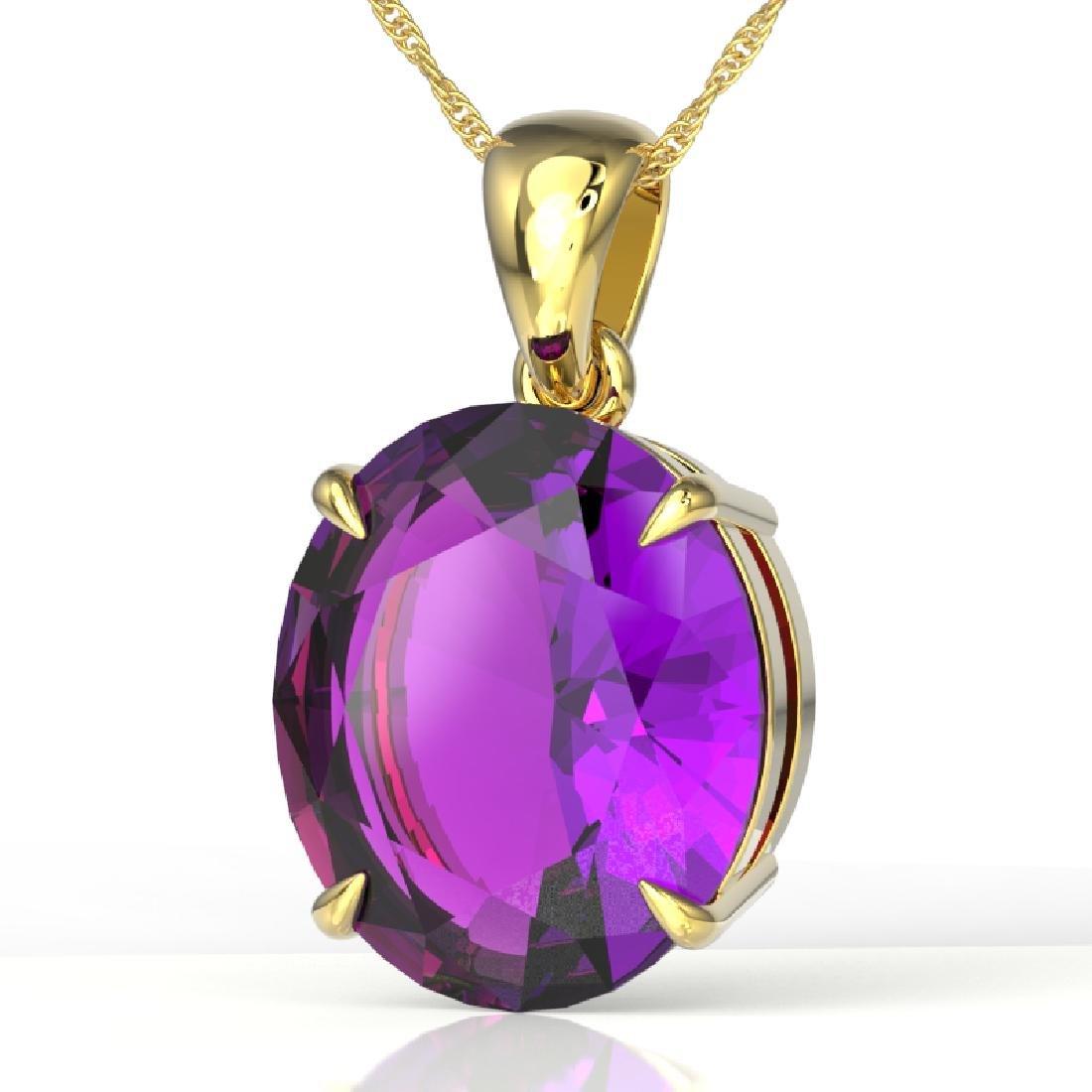 9 CTW Amethyst Designer Solitaire Necklace 18K Yellow