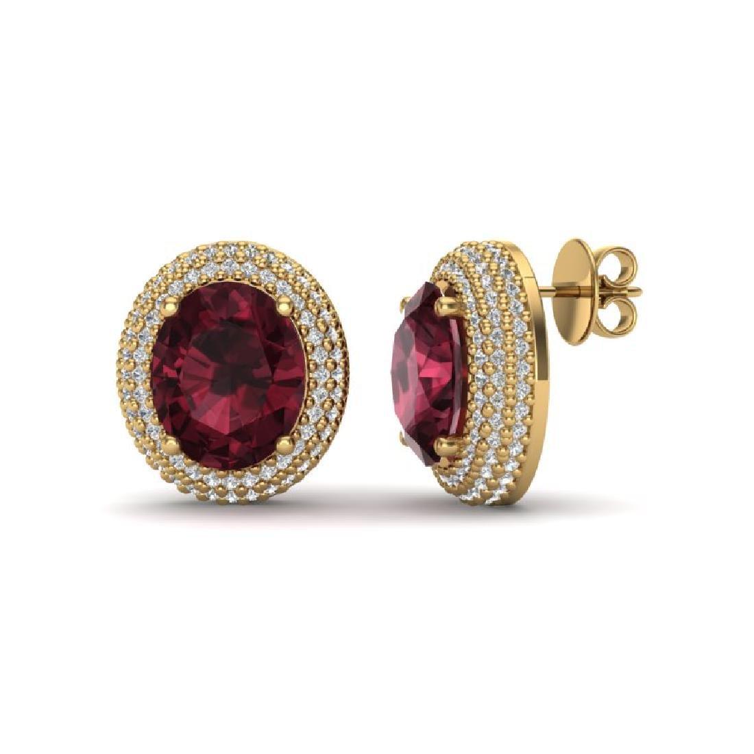 9 CTW Garnet & Micro Pave VS/SI Diamond Earrings 18K - 2