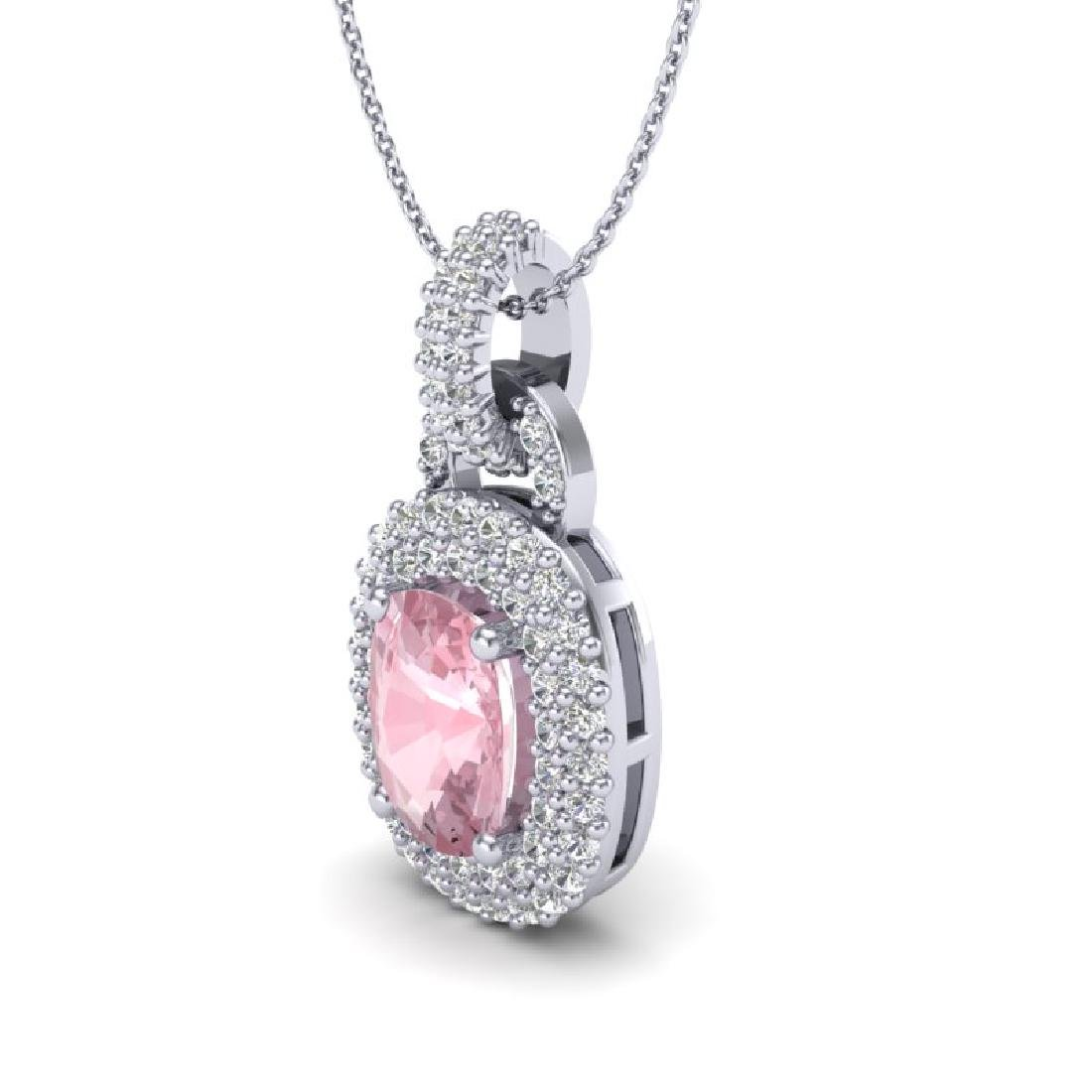 2.50 CTW Morganite & Micro Pave VS/SI Diamond Necklace - 2