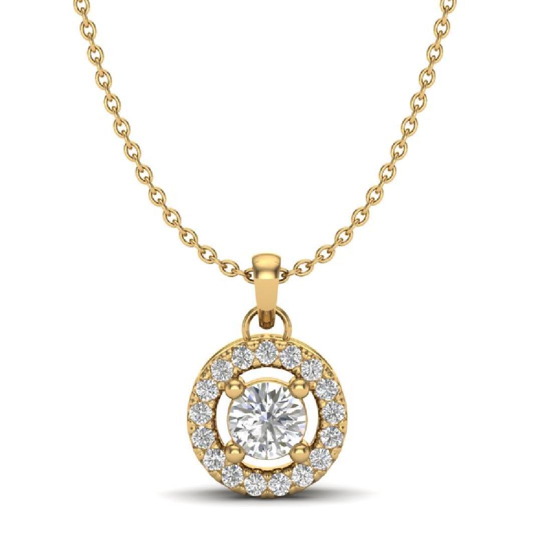0.33 CTW VS/SI Diamond Micro Pave Necklace Solitaire