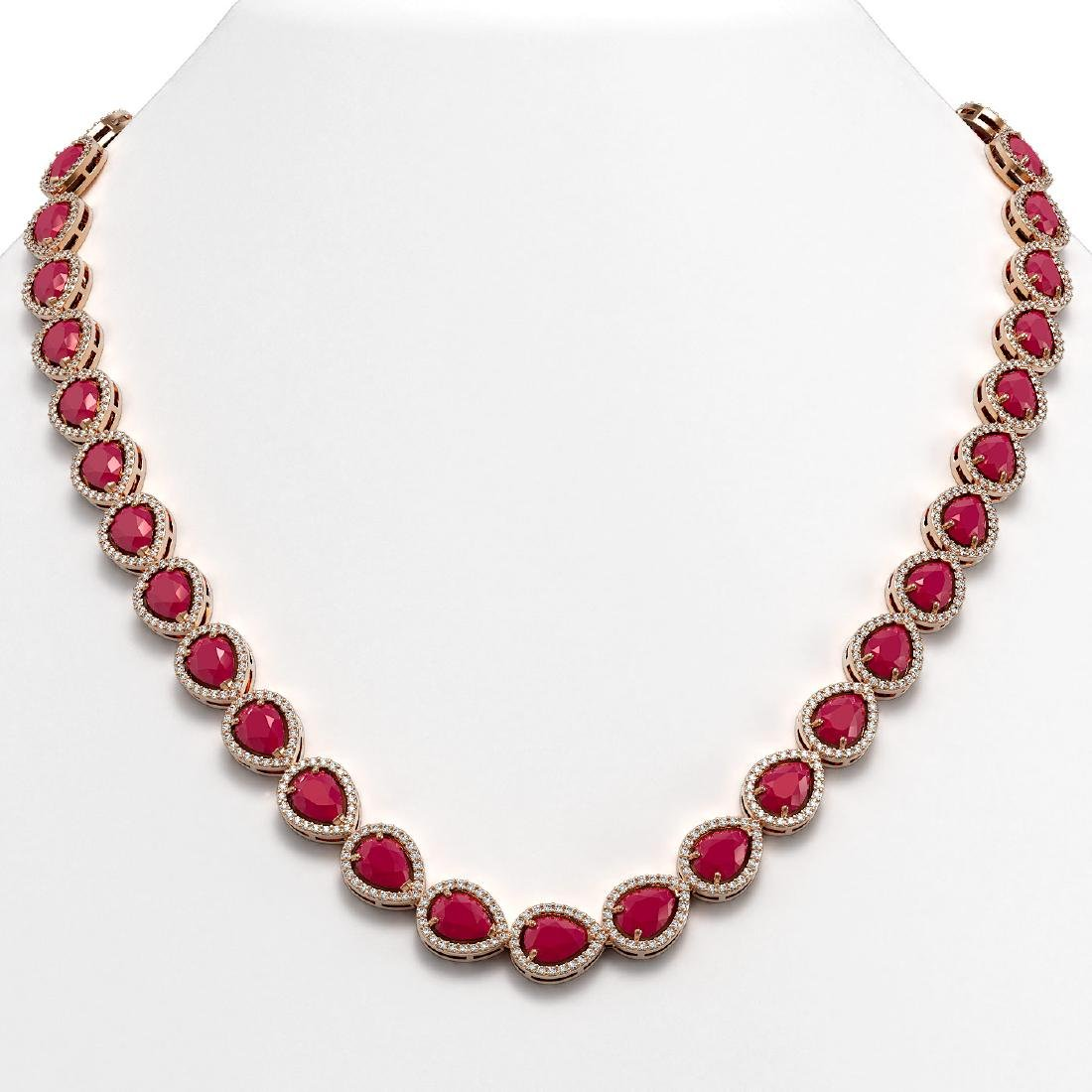 45.93 CTW Ruby & Diamond Halo Necklace 10K Rose Gold